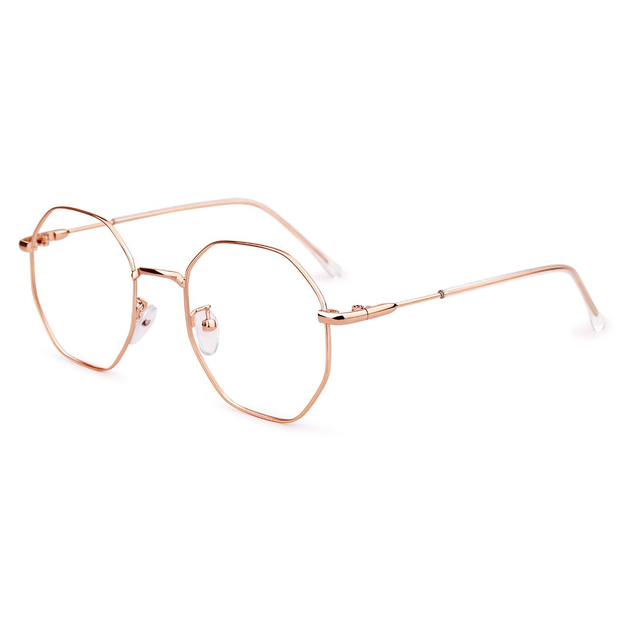 近视眼镜女韩版潮配有度数复古金丝多边形眼睛可配眼镜框网红款男