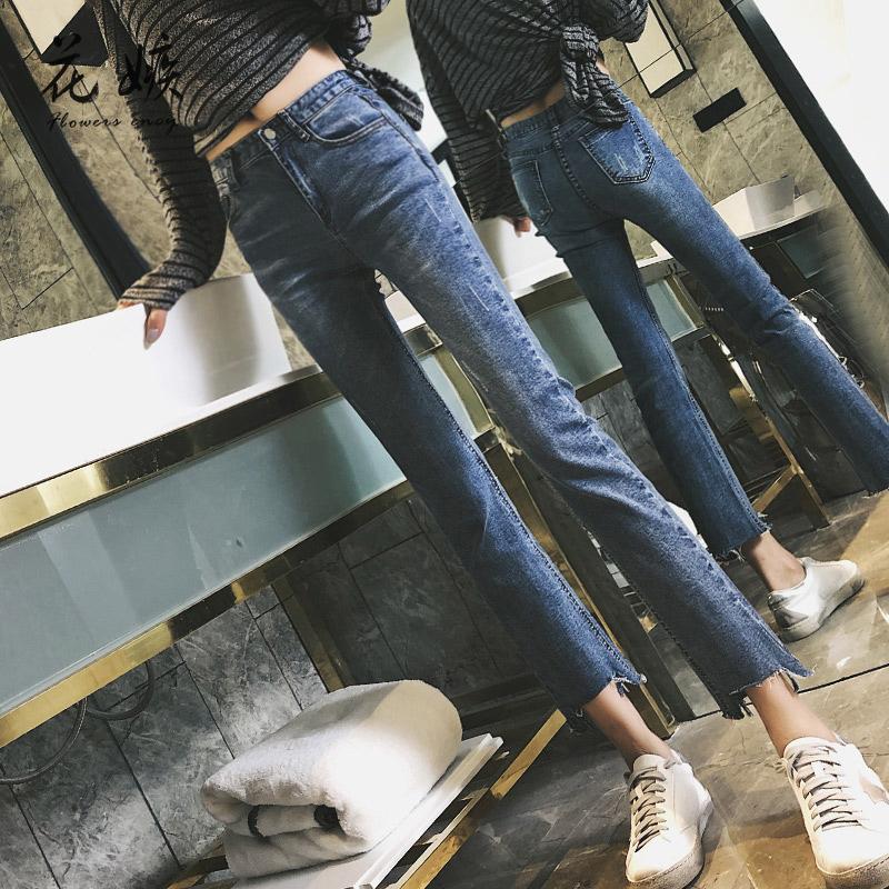 夏直筒牛仔裤