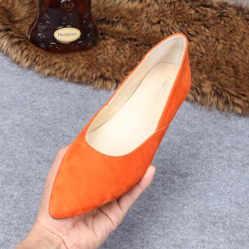 橘色单鞋女平底