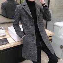 风衣男中长款青年韩版秋冬季修身潮流毛呢外套男士英伦呢子大衣男
