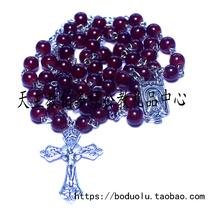 天主教玫瑰经五端念珠紫水晶苦像十字架多层手链