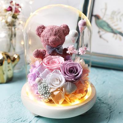永生花礼盒玻璃罩玫瑰花小熊保鲜花干花送女朋友生日情人节礼物