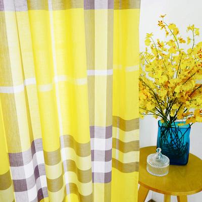 北欧简约现代黄色格子纯棉布书房卧室客厅美式乡村半遮光成品窗帘