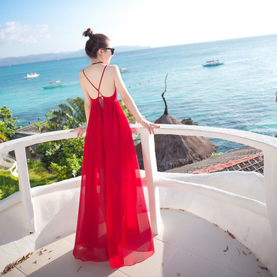 普吉岛沙滩裙女夏2018新款海边度假波西米亚长裙显瘦泰国连衣裙仙