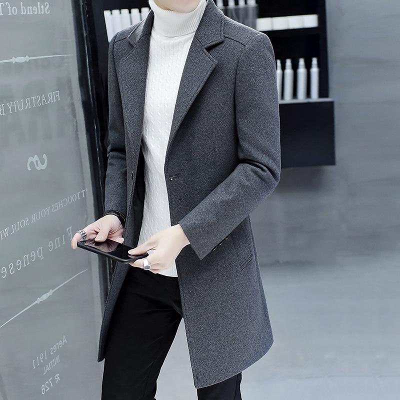 风衣男中长款韩版修身帅气2018新款春秋男士羊毛妮子大衣长款外套