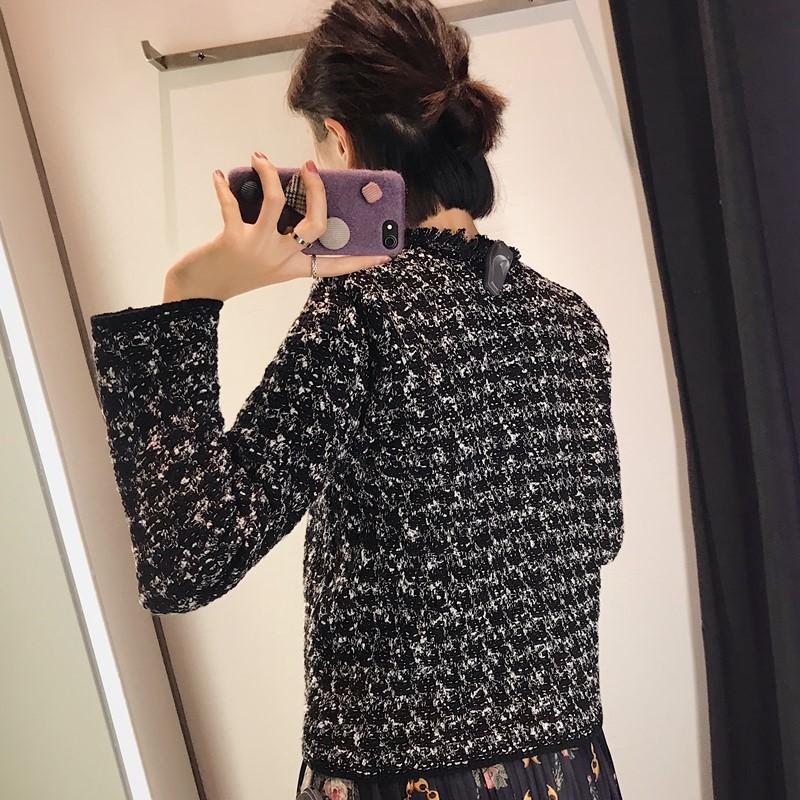 针织短款外套女秋冬新款2018小香风珠宝扣斜纹软呢毛边流苏饰西装