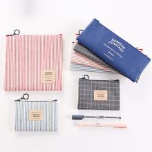 韩国文具简约笔袋男女中学生大容量帆布铅笔盒零钱包收纳化妆包袋