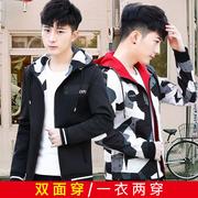 秋冬新款男青年夹克社会小伙双面穿男士休闲修身韩版学生连帽外套