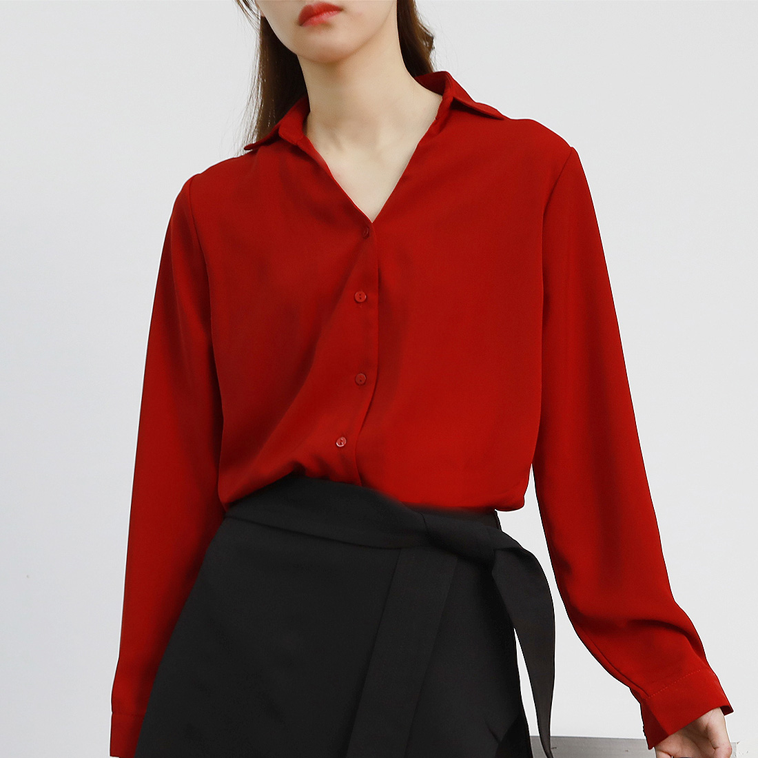 JO-JO-Z 独家V领长袖缎绒衬衫OL气质显瘦宽松上衣 正点复古石榴红
