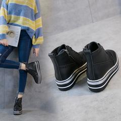 秋冬季马丁靴女2018新款韩版英伦风系带短靴潮厚底鞋松糕底布洛克