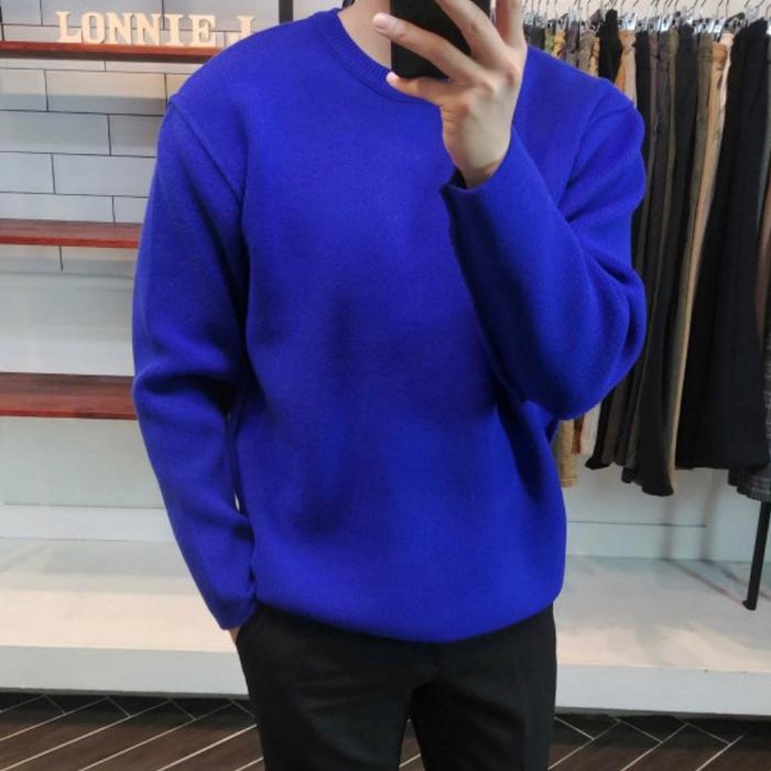 东大门韩国男装代购羊绒轻奢质感素雅纯色休闲落肩针织套头毛衣