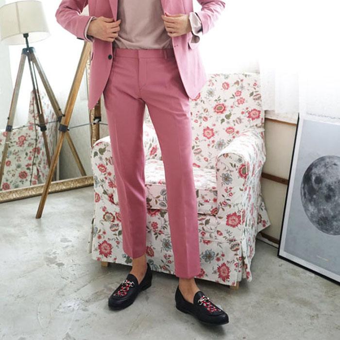 东大门韩国男装代购实拍舒适纯色宽松微锥小直筒休闲裤西裤