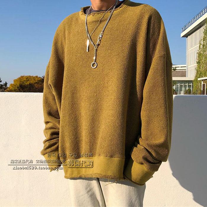东大门韩国男装代购潮搭落肩大码拉丝纯色高街风舞台套头卫衣秋冬