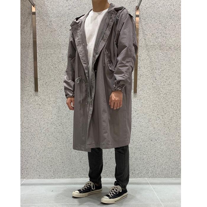 韩国代购男装实拍东大门雅痞英伦时髦廓形可收腰风衣外套连帽秋装