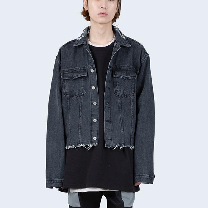 韩国代购男装代购男女同款短款牛仔上衣复古乞丐风刮烂毛边牛仔服
