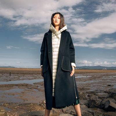 ✅2018新款欧美可脱卸羽绒内胆纯色手缝双面呢羊绒大衣女毛呢外套
