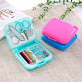 Household portable sewing box paper ruler thimble set cross stitch cutting sewing tool mini storage set sewing kit