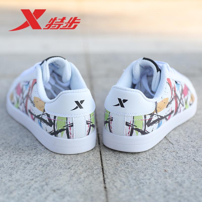 特步女鞋板鞋女2019新款街拍小白鞋子学生透气休闲鞋夏季运动鞋女