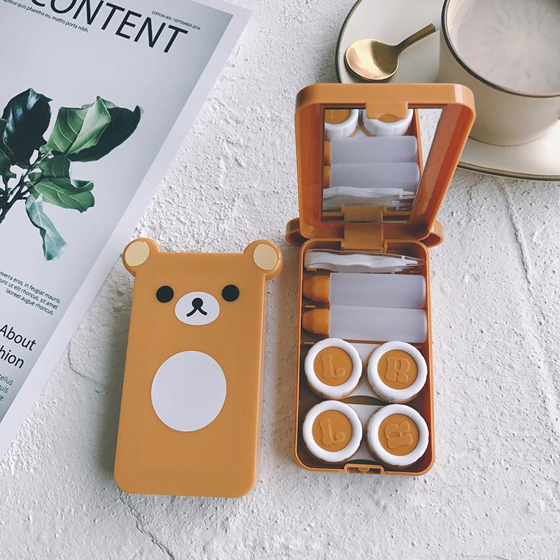 隐形近视眼镜盒卡通可爱双联盒 2副装美瞳伴侣带镜子带镊子熊本熊