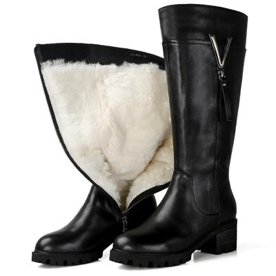 高筒靴女2018新款军靴粗跟真皮冬季长筒大码皮毛一体棉鞋羊毛鞋女