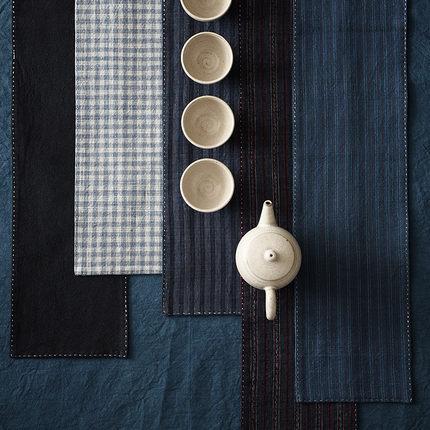 GOING HOME中式国风复古老粗布手工茶席茶巾茶杯垫子茶道配件茶旗