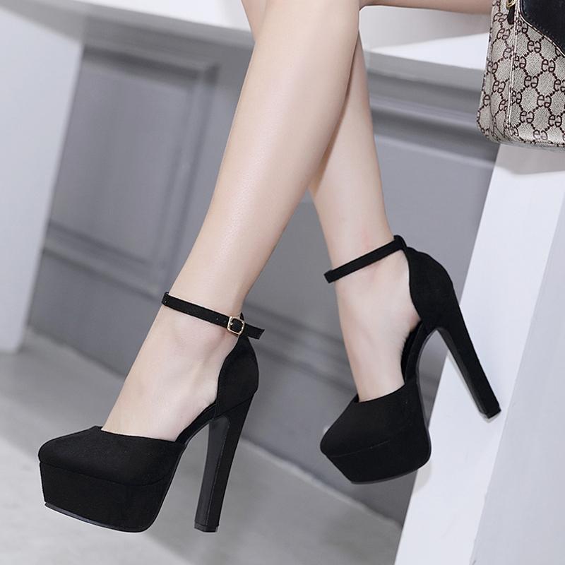 14cm粗跟高跟鞋