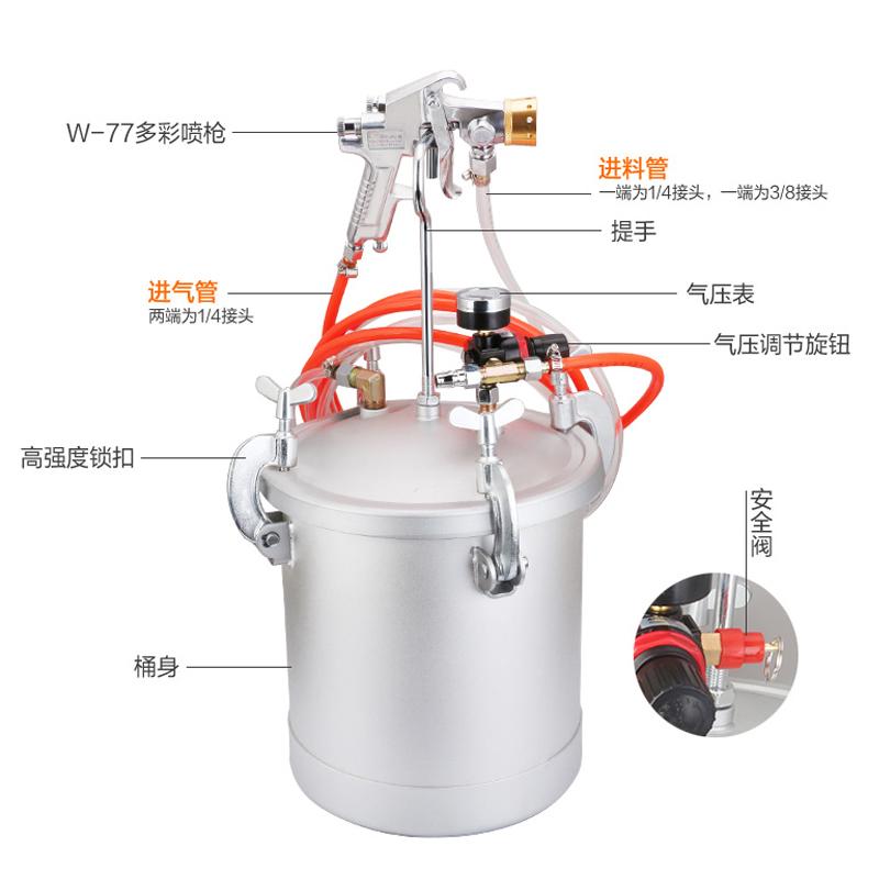 捷霸多彩水包水10升压力桶油漆乳胶漆涂料 多彩水包水仿石漆喷枪