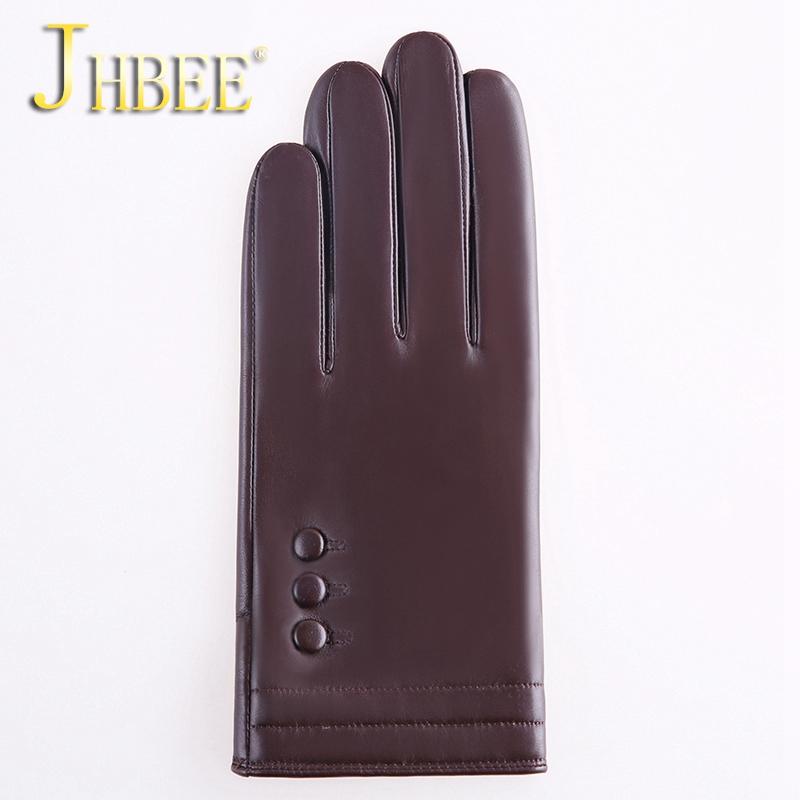 真皮手套男士春季保暖骑行开车薄款加绒大码羊皮手套触屏 JHBEE