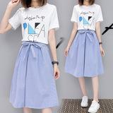 两件套装裙子夏季2019新款女潮学生韩版中长款连衣裙学院风小清新