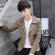秋冬季短款格子风衣男韩版西装青年英伦潮流帅气呢子大衣男装外套