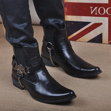 Korean version of Gaogang boots, new style boots, Martin boots, fashionable boots, pointed leather shoes, Men's and Englishmen's Lun Zenggao men's shoes
