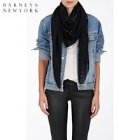 Saint Laurent/圣罗兰 女士印花羊毛薄纱方形围巾