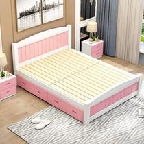 实木床落地式床次卧现代简约儿童房简欧风格家具时尚简单房间家庭