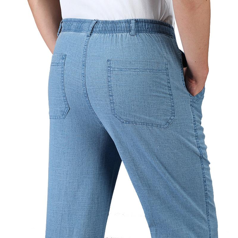 中老年男爸爸纯棉长裤夏季薄款男士休闲亚麻透气宽松高腰老爹裤子