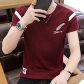 薄款 2019新款 冰丝刺绣青年半袖 t恤短袖 修身 潮流圆领夏季韩版 男士