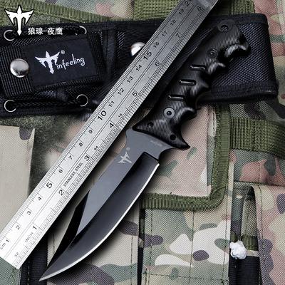 狼瑔刀具防身军工刀特种兵野外求生军刀退役直刀荒野生存户外小刀