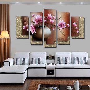 手绘油画百合客厅沙发背景卧室装饰挂画抽象无框画欧式花卉五联画