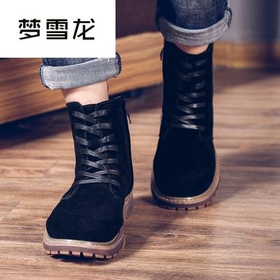 梦雪龙高帮马丁靴男款黑色磨砂皮英伦风工装鞋圆头皮靴子男配牛仔