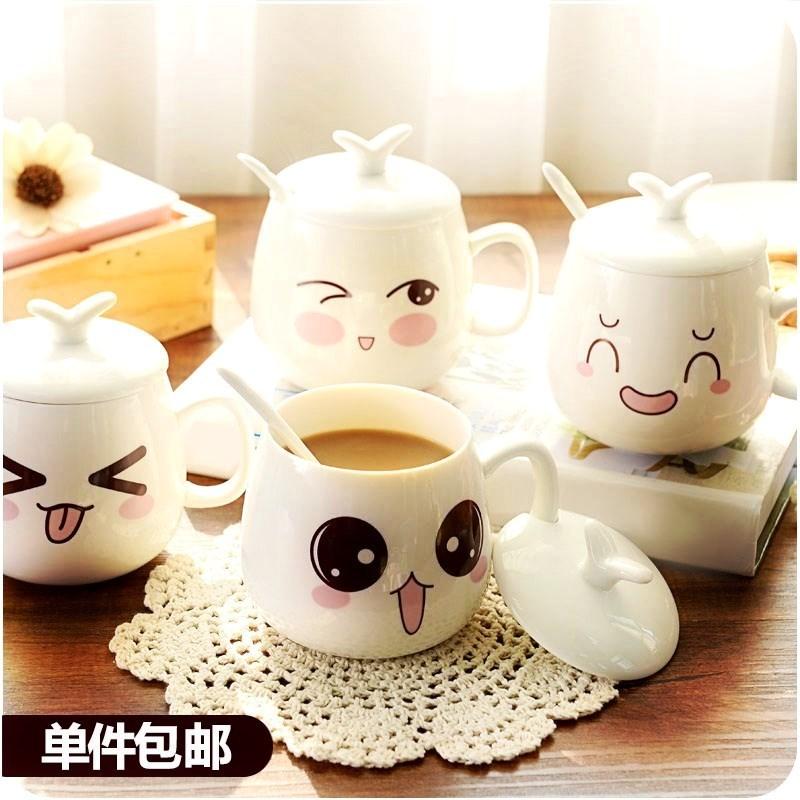 1314情侣陶瓷水杯马克杯带盖勺家用个性创意结婚礼盒咖啡杯女