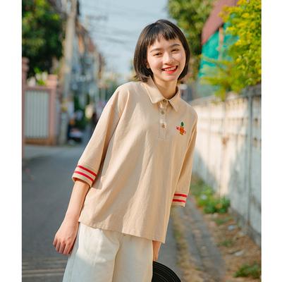 青蔷薇2019夏季POLO领五分袖T恤女装学生宽松刺绣原宿风中袖上衣