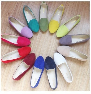 19 Colors PU Leather Point Toe Women Casual Flat Shoes 35-43