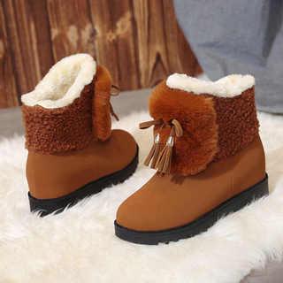 回力内增高雪地靴女短筒韩版百搭学生短靴女保暖棉鞋子女冬加绒面