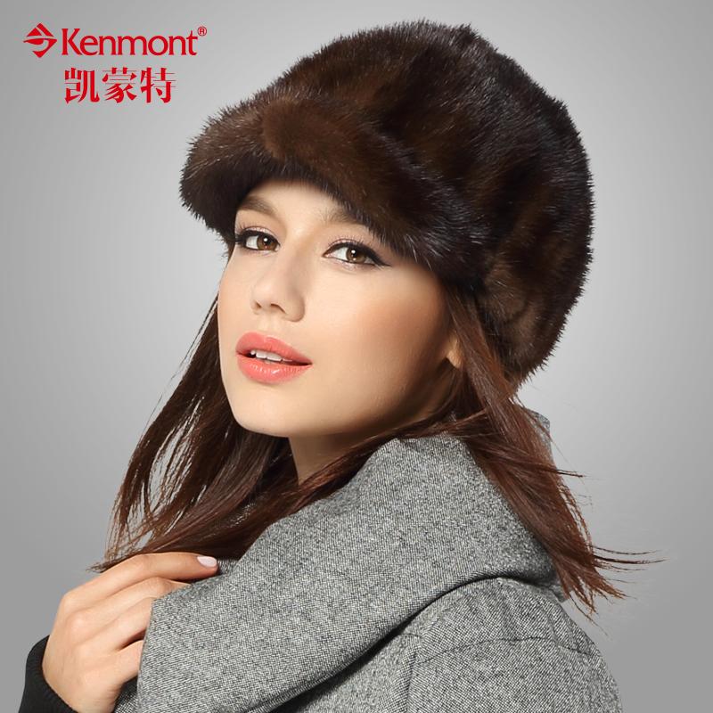 水貂毛帽子秋冬天女士皮草帽骑士帽马术帽韩版潮小礼帽 kenmont
