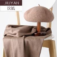 新款羊毛贝雷帽子围巾韩版两件套画家帽女生日闺蜜礼物套装
