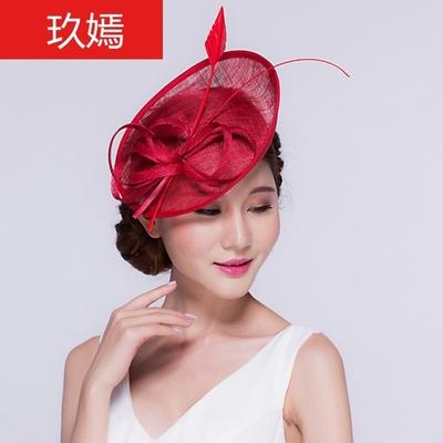 秋季红色秋女礼帽子日系女头箍发饰欧美英伦复古羽毛小礼帽小清新