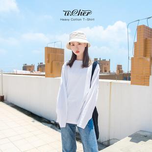 纯白色长袖t恤女上衣打底衫春装2019新款纯棉宽松内搭春秋叠穿丅
