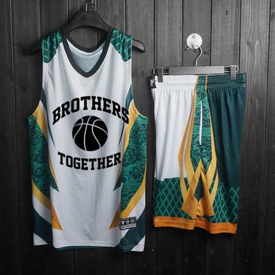 diy球衣透气无袖篮球服定制队服比赛服男花纹篮球服套装印字印号