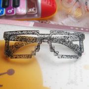 时尚几何马赛克不规则暗纹眼镜框眼镜架无镜片男女适用搭配装饰