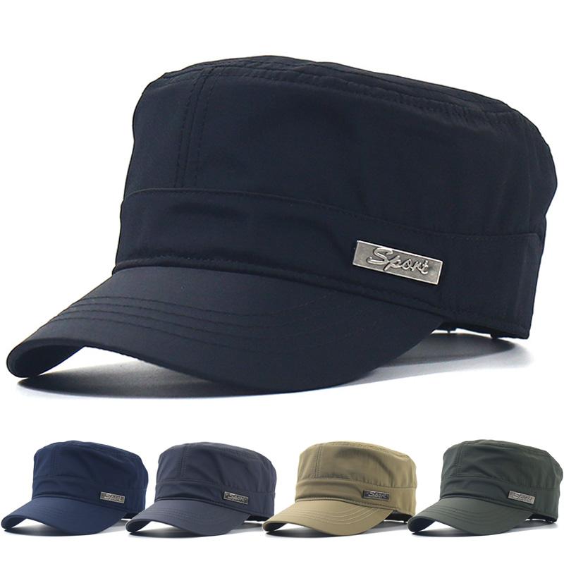 夏季薄款帽子男鸭舌帽平顶帽户外遮阳帽太阳帽防晒速干运动休闲帽