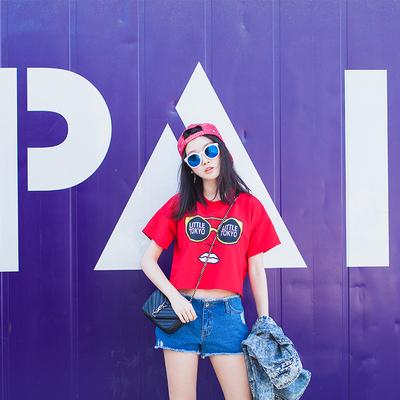 夏装韩版新款宽松红色肚脐装印花高腰体恤短款上衣露脐短袖t恤女